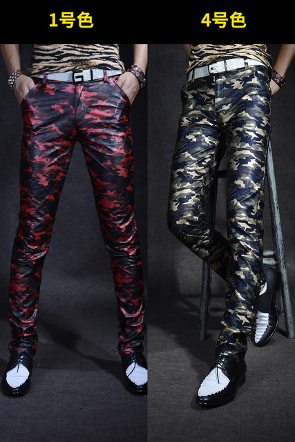 Men 's Leather Trousers Trousers Slim Pants Autumn New Camouflage PU Leather Pants Military Youth Men Pants Casual Shiny Pants 4