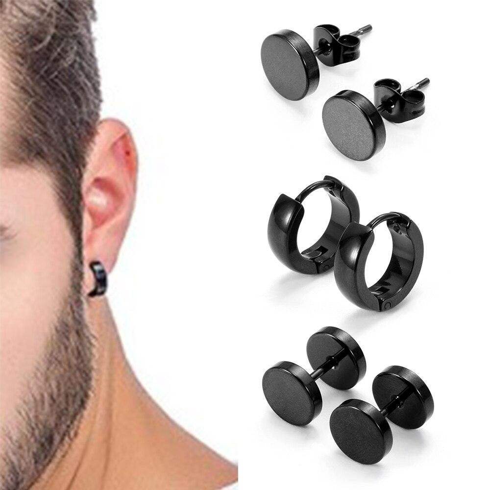Conjunto 1 4 Par Unisex Forma Piercing Brinco Para Mulheres Homens Punk Gótico de Aço Inoxidável Barbell Brinco Diferentes Tipos Preto cor