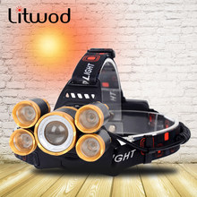 CREE LED XM-L T6 Headlamp Headlight Head Lamp flashlight 20000 Lumens Zoomable Rechargeable 18650 Battery(China)