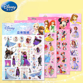 Genuine Cartoon Disney Princess Frozen Mickey Mouse Bubble Sticker 3D Pixar Cars 3 Puffy Stereo Waterproof Sticker For Kids Gift image