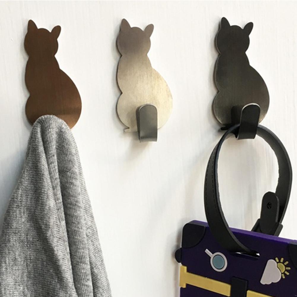 2Pcs Self Adhesive Wall Hooks Strong Adhesive  Bathroom Metal Cat Walls Patterns Sticker Door Towel Hanger