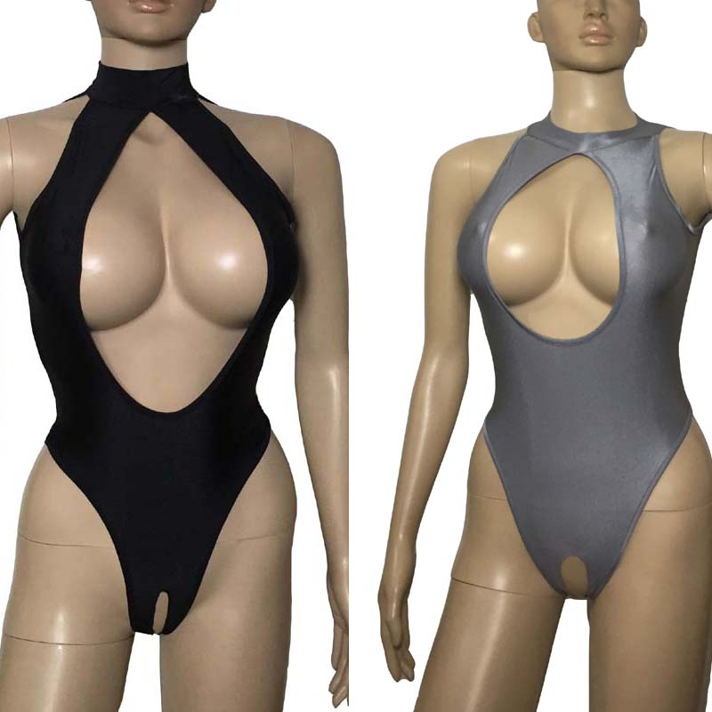 Hot Sexy Lingerie Erotic Women High Cut Cupless Crotchless Leotard Front Open Crotch Skinny Teddy Bodysuit Lingerie