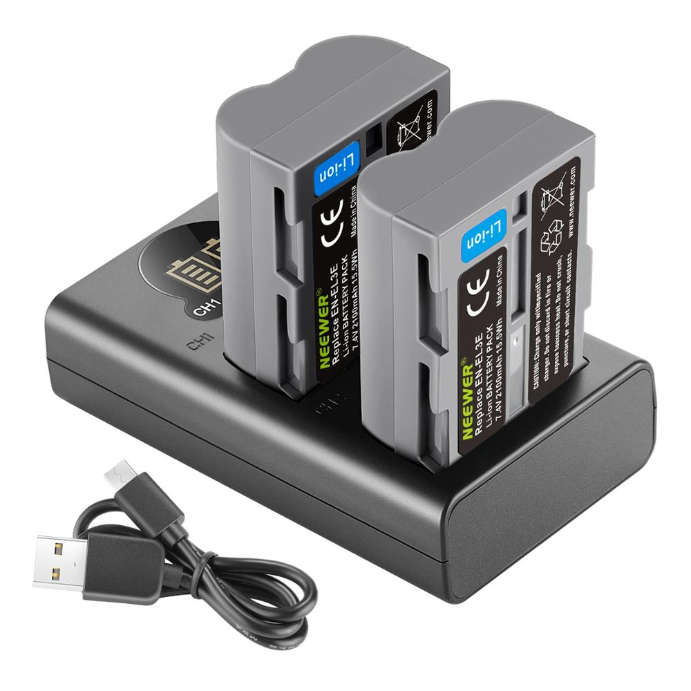 Neewer 2 Packs 2100mAh Battery Replacement for Nikon EN-EL3e Battery and Dual USB Charger with LCD Display For Nikon D50 D70 D80