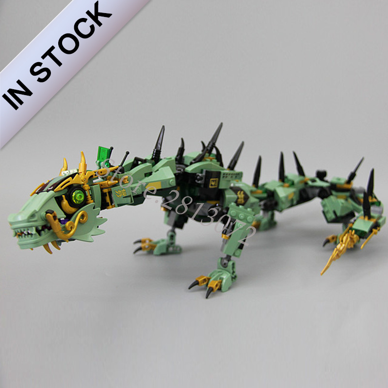 In Stock Green Ninja Mech Dragon Model 10718 06051 573Pcs Building Blocks Bricks Toys Compatible with <font><b>70612</b></font> 06051 Toys image