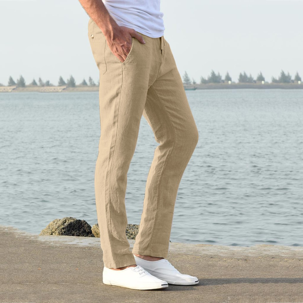Hbc41d4575b21493191248961c41eb54dU Feitong Fashion Cotton Linen Pants Men Casual Work Solid White Elastic Waist Streetwear Long Pants Trousers