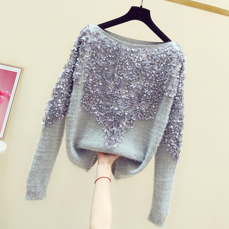 2020 Spring Autumn New Handmade Three-dimensional Small Floral Round-Neck Long-Sleeve Pullover Sweater Women's Casual Sweaters
