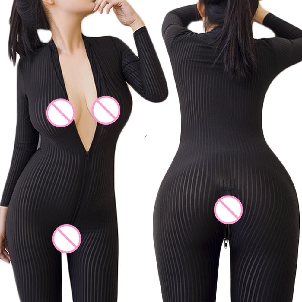 Sexy Women Leopard Striped Long Sleeve 2-Way Zipper Bodystocking Overall Bodysuit