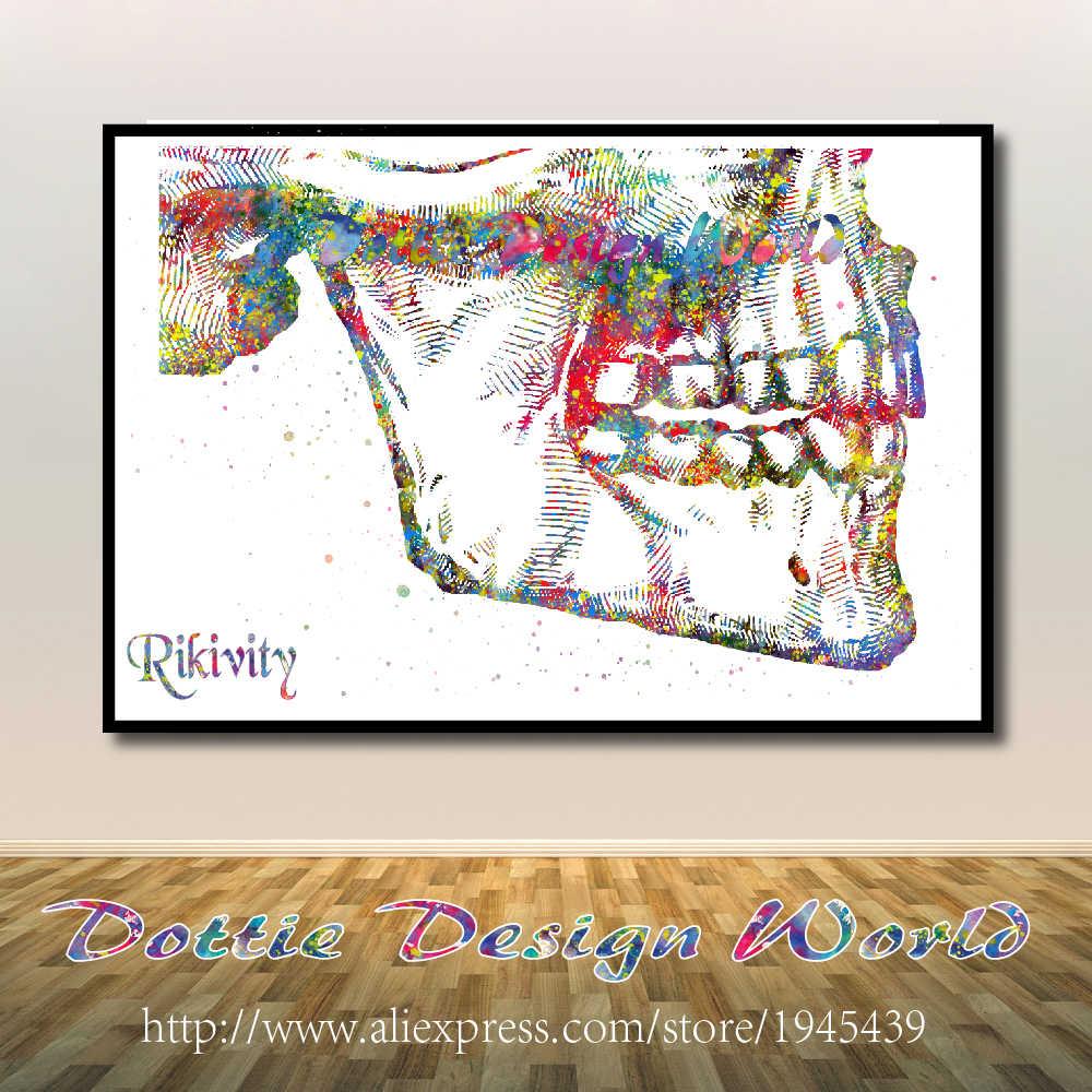 Rikivity Anatomi Manusia Poster Cetakan Kanvas Lukisan Tangan Medis Tulang Rangka Dinding Seni Gambar Pernikahan Rumah Klinik Dekorasi