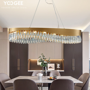 YOOGEE Современная овальная хрустальная люстра, роскошная латунная Матовая нержавеющая сталь, светодиодный прямоугольник, лампа для дома, вну...