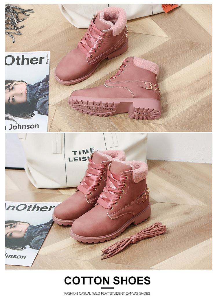 Size 43 women winter boots 2019 New Arrival Fashion Suede Women Snow Boots Metal rivet Warm Plush Women's Ankle Boots Flat shoes 36