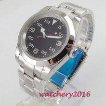 40mm Bliger Black dial Sapphire Glass Polished Luminous Marks Miyota 8215 Automatic mechanical Mens Watch 46mm bliger blue dial date luminous marks sub automatic mens wrist watch