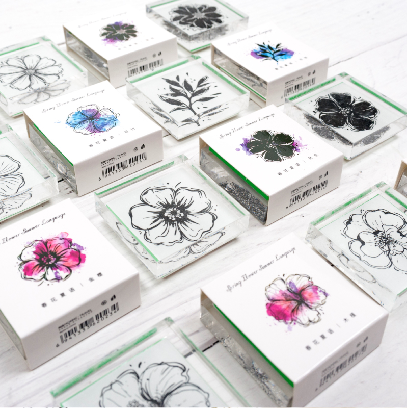 Spring Flower Summer Language Series Acrylic Stamp DIY Stamps Seal For Scrapbooking Stationery Scrapbooking Cute Stamp Prize