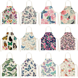 Image 1 - 1Pcs Butterfly Printed Kitchen Aprons for Women Cotton Linen Home Cooking Baking Waist Bib Pinafore Cleaning Tools 53*65cm A1016