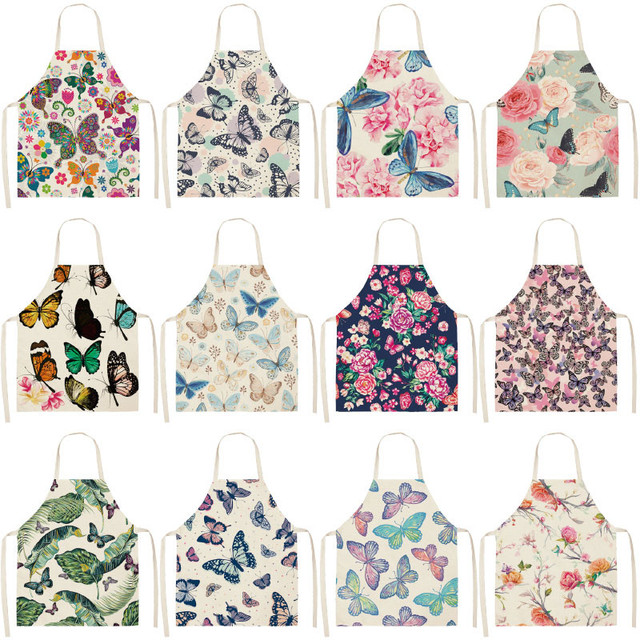 1Pcs Butterfly Printed Kitchen Aprons for Women Cotton Linen Home Cooking Baking Waist Bib Pinafore Cleaning Tools 53*65cm A1016