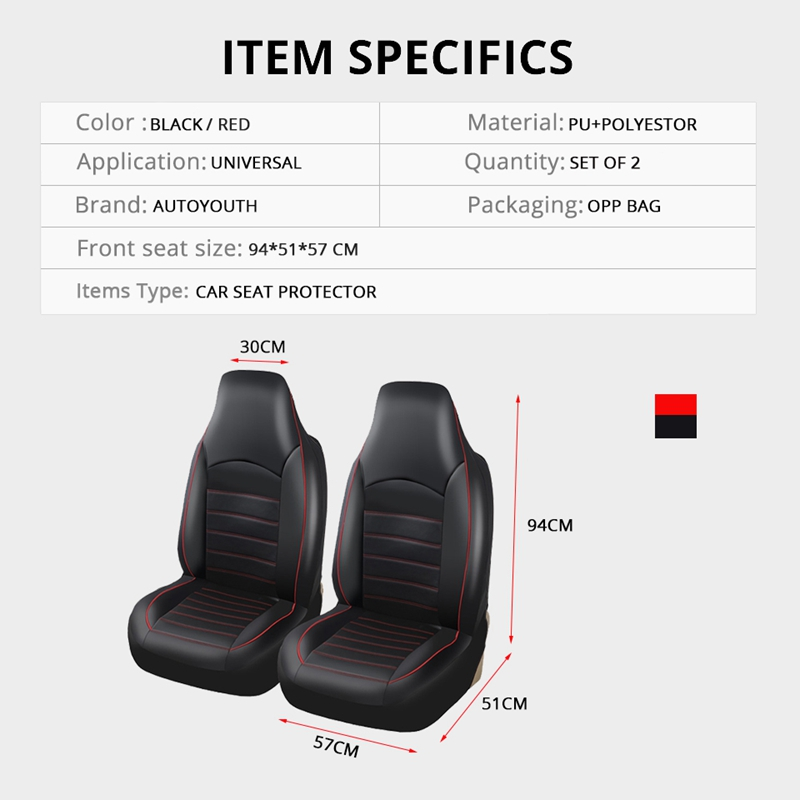 Universal Car Seat Covers Sparco Front /& Rear Set In Black W// Red Racing Stripe