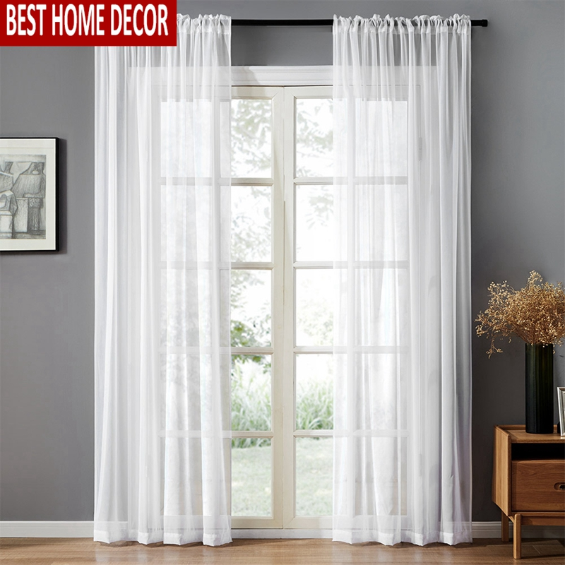 BHD Solid White Tulle Sheer Window Curtains for Living Room the Bedroom Modern Tulle Voile Organza Curtains Fabric Drapes
