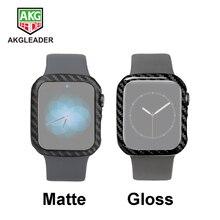 Capa de fibra de carbono para apple assistir série 5 4 40mm 44mm luxo caso protetor para apple watch 1 2 3 38mm 42mm assista casos quadro