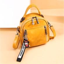 3in1Casual Womens Soft Leather Mini Backpack Cartoon Pendant School Bags For Teenage Girls Solid Back pack mochila feminina