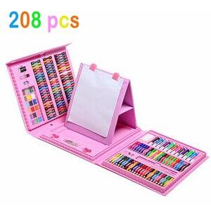 Image 2 - 208 adet boyama çizim seti mum boya renkli kalemler suluboya kalemler çocuk çocuk öğrenci sanatçı sanat seti boya fırçaları