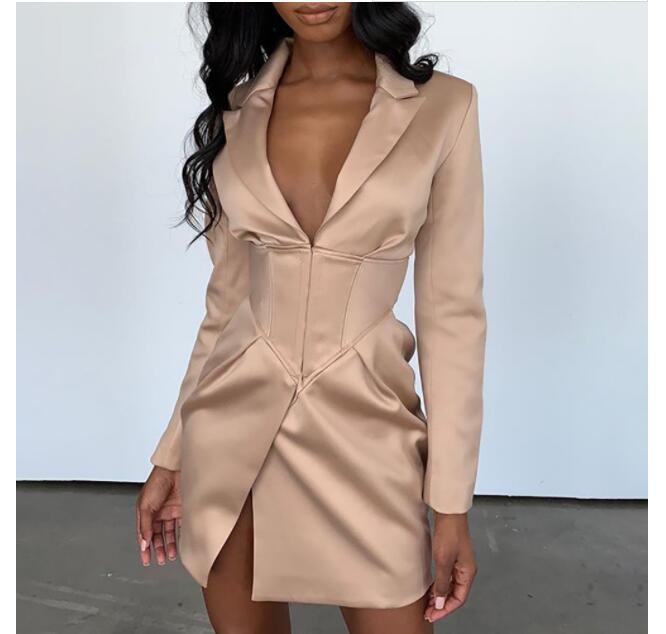Female Blazer Long Sleeve Blaser Women Suit Bodycon Jacket Elegant Outwear Deep V Neck White Sexy Club Blazer Coat