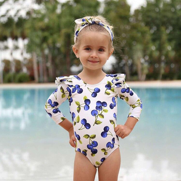 New Style KID'S Swimwear Girls Cute Flower Blue Cherry Children Sun-resistant Long Sleeve One-piece CHILDREN'S Swimsuit