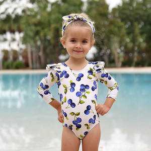 New Style KID'S Swimwear Girls Cute Flower Blue Cherry Children Sun-resistant Long Sleeve One-piece CHILDREN'S Swimsuit