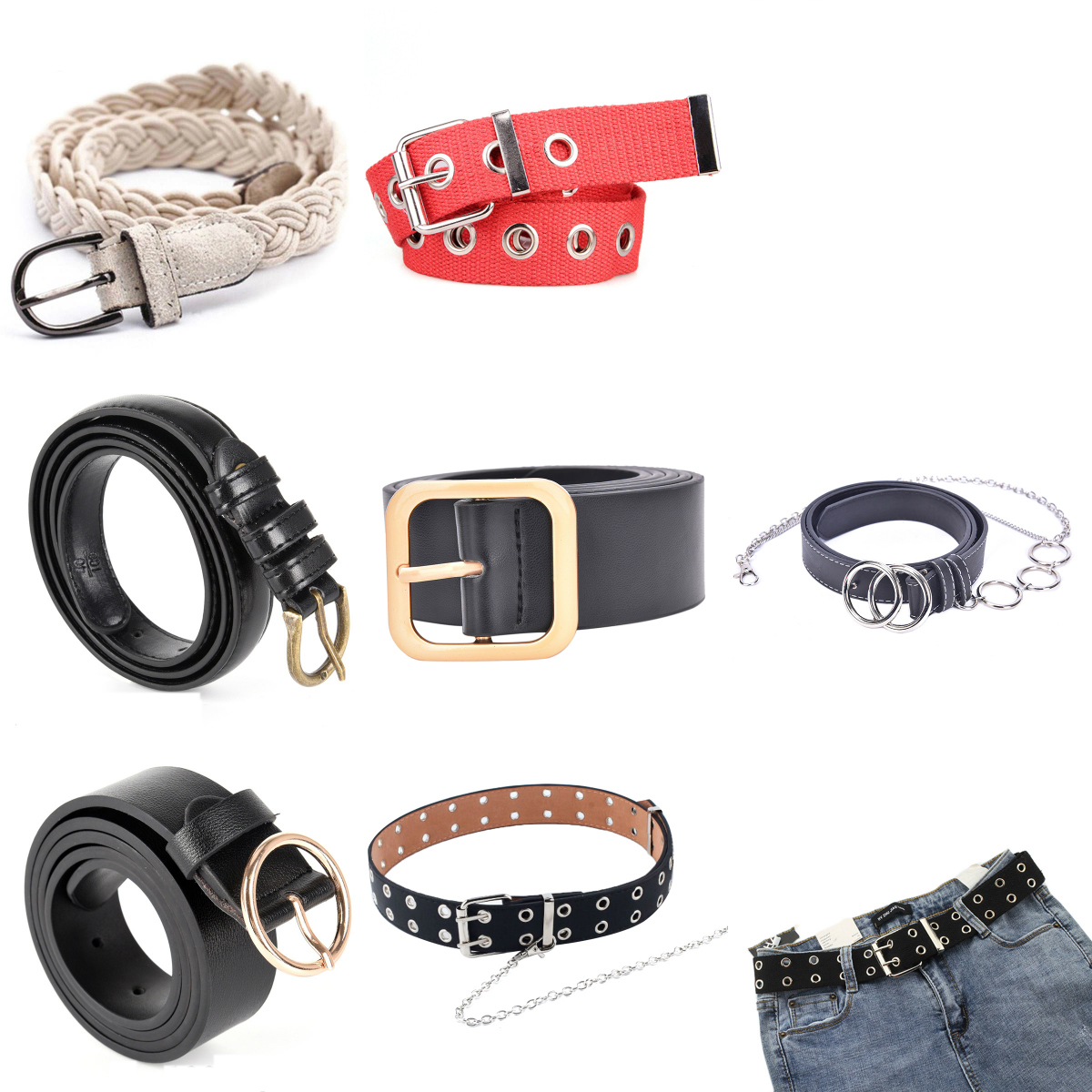1PCS Side Gold Buckle Jeans Wild Belts  Fashion Circle Pin Buckles Belt For Students Simple Casual Trousers Woman Deduction