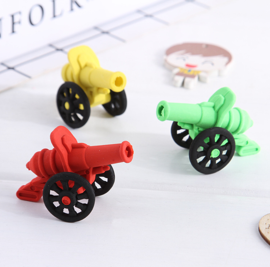 2pcs Cute Artillery Army Weapon Pens Eraser Kawaii Pencil Erasers For Kids Rubber Stationery School Supplies Student Prizes Gift