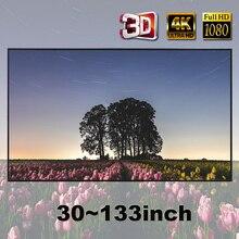 Yovanxer شاشة العرض 72 84 100 106 120 130 133 بوصة قماش نسيج عاكس للمنزل في الهواء الطلق مكتب المحمولة ثلاثية الأبعاد HD