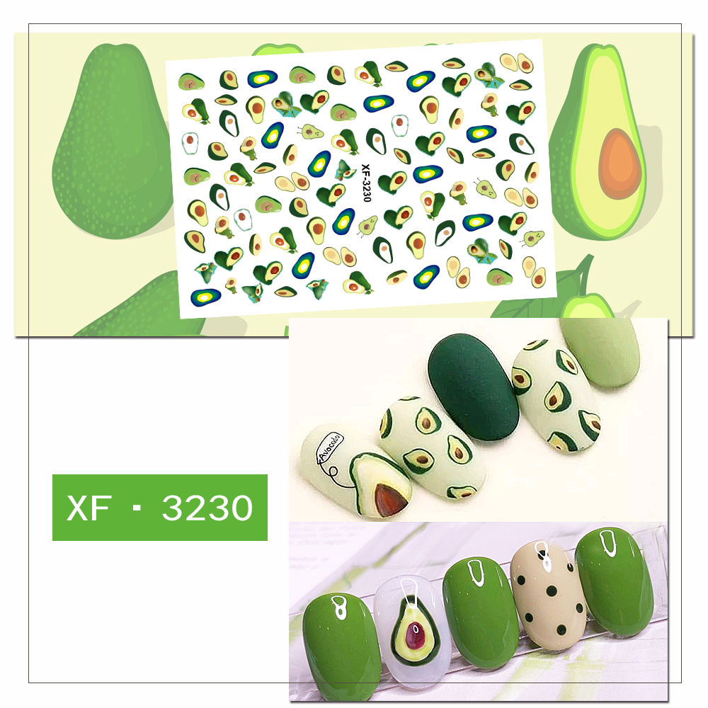 Japanese YAYA Style Nail Art Stick Mini Flower Starwberry Avocado Moon Star Pattern 3D Manicure Nail Art Decals XF001