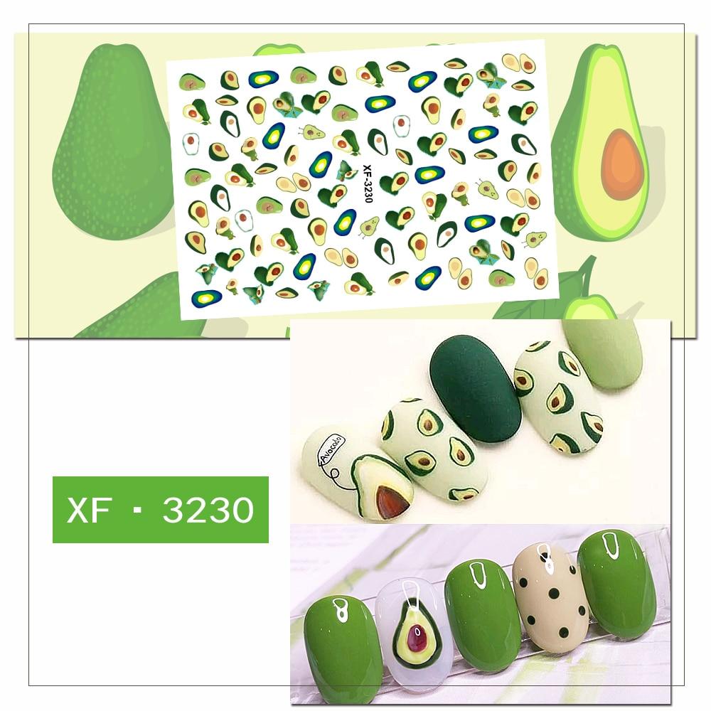 Japanese YAYA Style Nail Art Stick Mini Flower Starwberry Avocado Moon Star Pattern 3D Manicure Nail Art Decals XF001