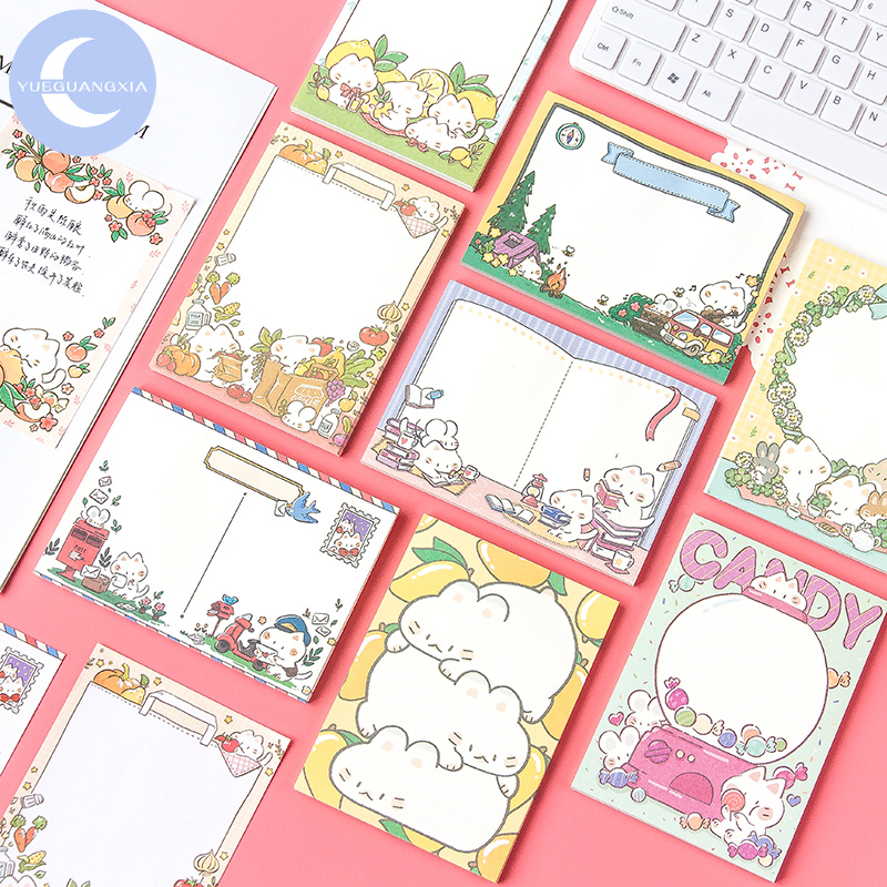 YUEGUANGXIA 50pcs/lot Kawaii Cartoon Candy Can Kitty Large Size Loose Leaf Memo Pads Write Down Points Memo Sheets 9 Designs