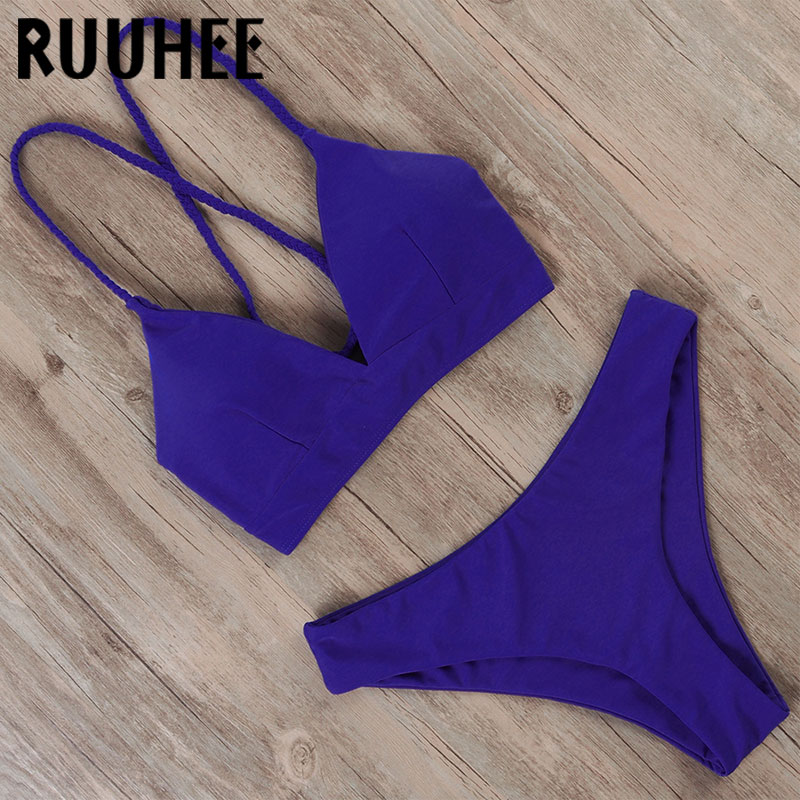 RUUHEE Solid Lace Up Bikini 2020 Women Swimwear Push Up Swimsuit Print Swimming Suit Bandage Sexy Summer Bathing Suit Female