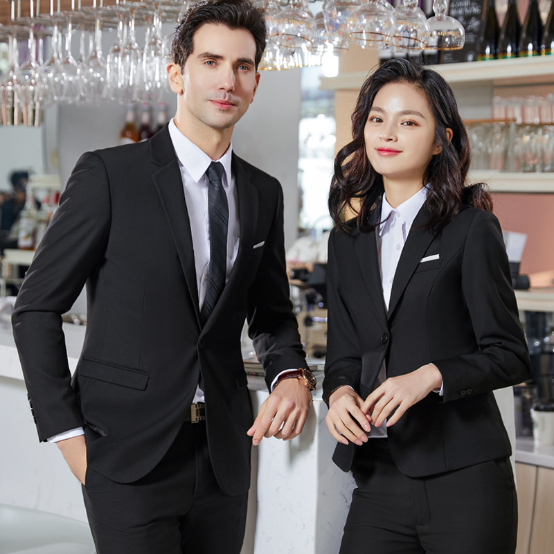 Men And Women Celebrity Style Black Suit Set Men's 2019 Autumn And Winter Business White Collar Work Clothes Hotel Bank Sale Wor