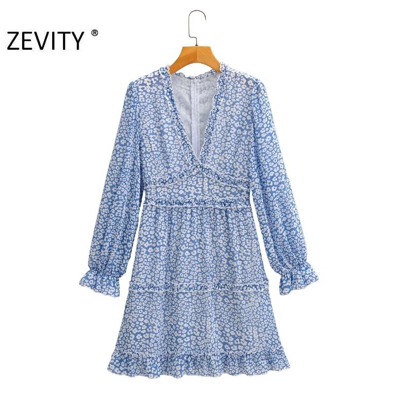 ZEVITY Women sweet agaric lace printing casual slim Dress Female long sleeve chiffon Vestidos back zipper ruffles Dresses DS4315