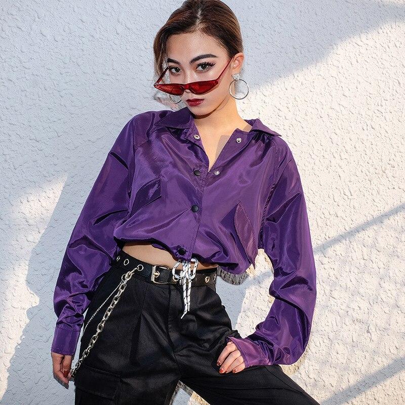 Outwear Coat Bomber-Jacket Crop-Top Drawstring Fall Women Lace-Up WAC2914W08 Turndown-Collar