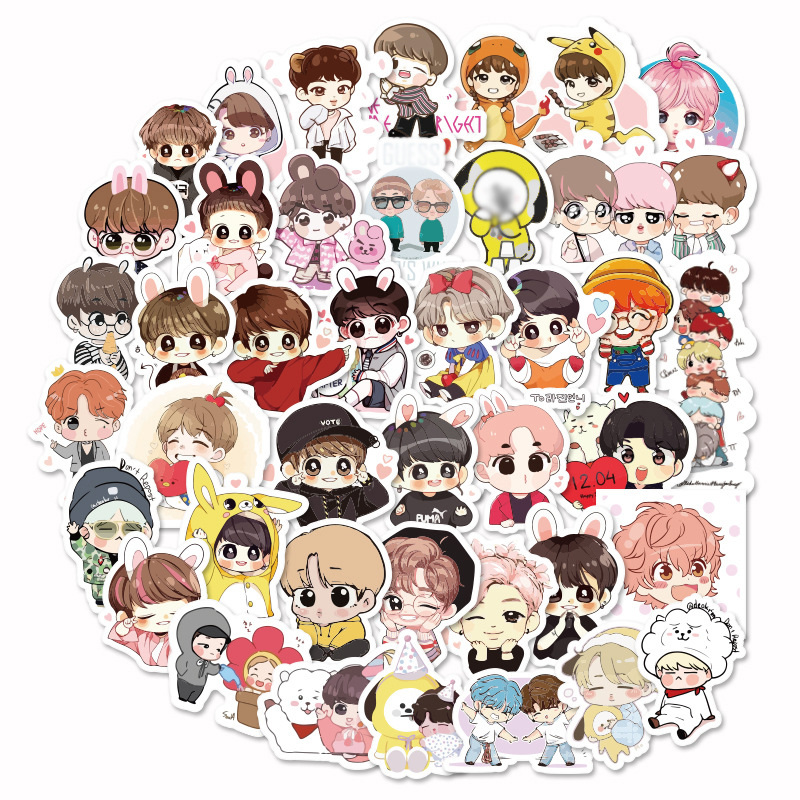 40pcs Kpop Stickers Green Stitch Cool Cute Girl Skateboard Waterproof Motorcycle Unicorn Anime Kpop Bangtan Stickers Kids Toys