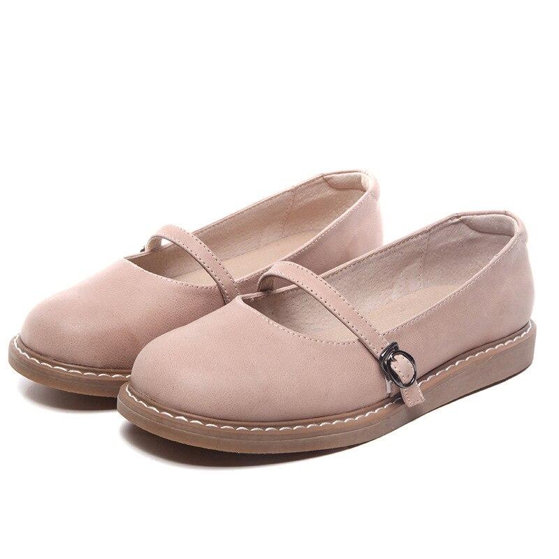 2020 neue Echtem Leder Oxford Schuhe Für Frauen Flache Schuhe Chaussures Femme Retro Handgemachte Slip Auf Casual Schuhe Frauen - 5