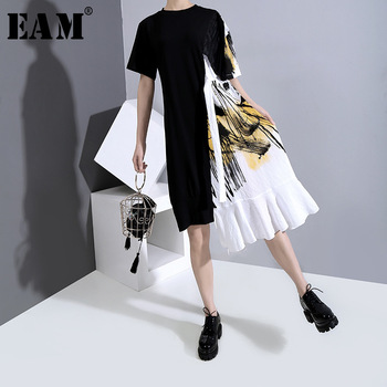 [EAM] Women Black Pattern Printed Ruffles Dress New Round Neck Short Sleeve Loose Fit Fashion Tide Spring Summer 2020 1W007
