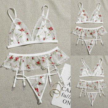 3PCS Women Floral Tulle Lace Embroidery Sexy Lingerie Babydoll G-String Garter Suit Underwear Female Fashion Top Erotic Lingerie