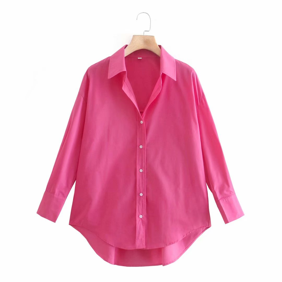 Zevity New Women Simply Candy COlor Single Breasted Poplin Shirts Office Lady Long Sleeve Blouse Roupas Chic Chemise Tops LS9114 4