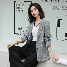 Large Size Plaid Vintage Ladies Blazer Gray Loose Simple Casual Suit Jacket Stylish Korean Spring Office Women Blazer MM60NXZ
