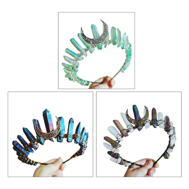 Boho Vintage Witch Tiara Contrast Color Faux Raw Quartz Crystal Headband Crown Bridal Weding Angel Aura Alloy Moon Hair Hoop
