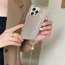 Luxury Girl mirror Crossbody lanyard chain Cases for iPhone 7 12 mini 11 Pro Max 8 Plus X XS XR MAX Fashion Back cover funda
