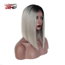 "DLME Lace Front Wig Bob Wig 12 '14"" Short Ombre Gray Wig with Dark Roots Natural Straight Middle Part Synthetic Full Wig f(China)"