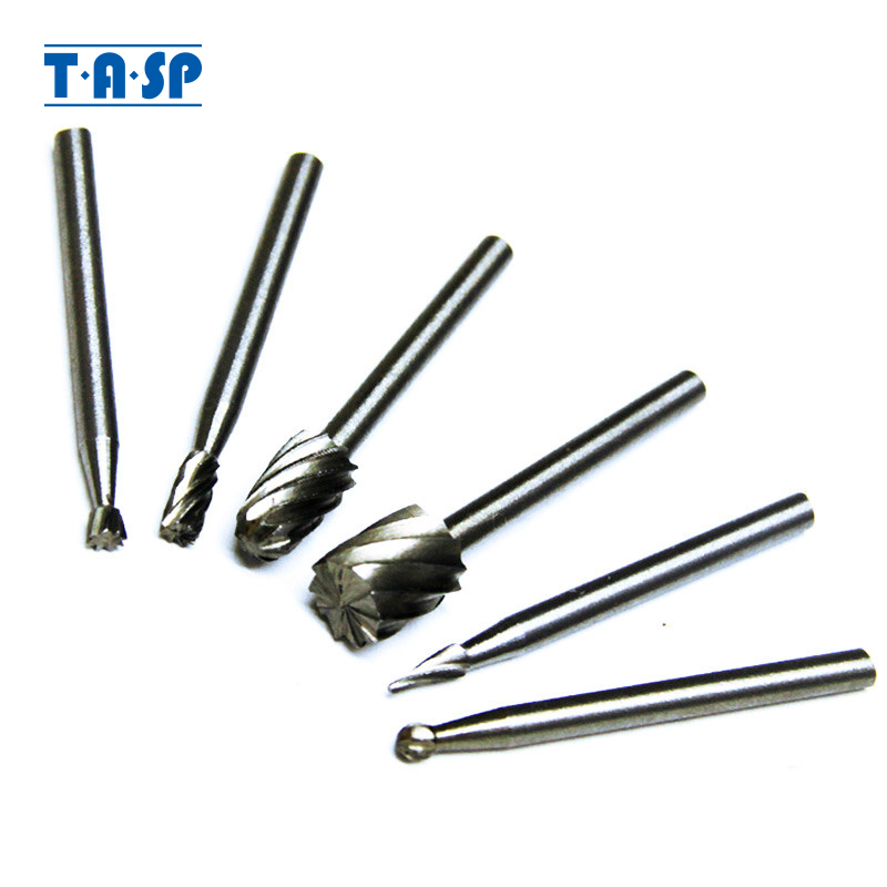 TASP 6pcs HSS Rotary Burr Mill Cutter Routing Router Bit Mini Drill Rotary Tool Accessories Woodworking Metalworking