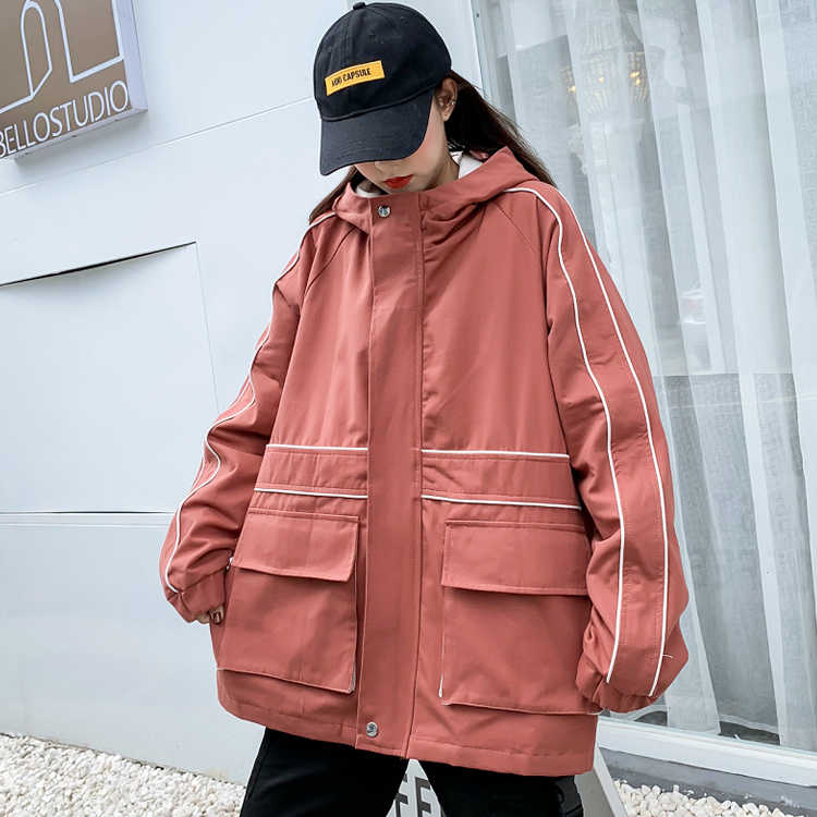 #9129 Autumn Long Sleeve Hoodies Jackets Coats Women Plus Size Hooded Solid Jacket Coat Ladies Casual Loose Outwear Harajuku