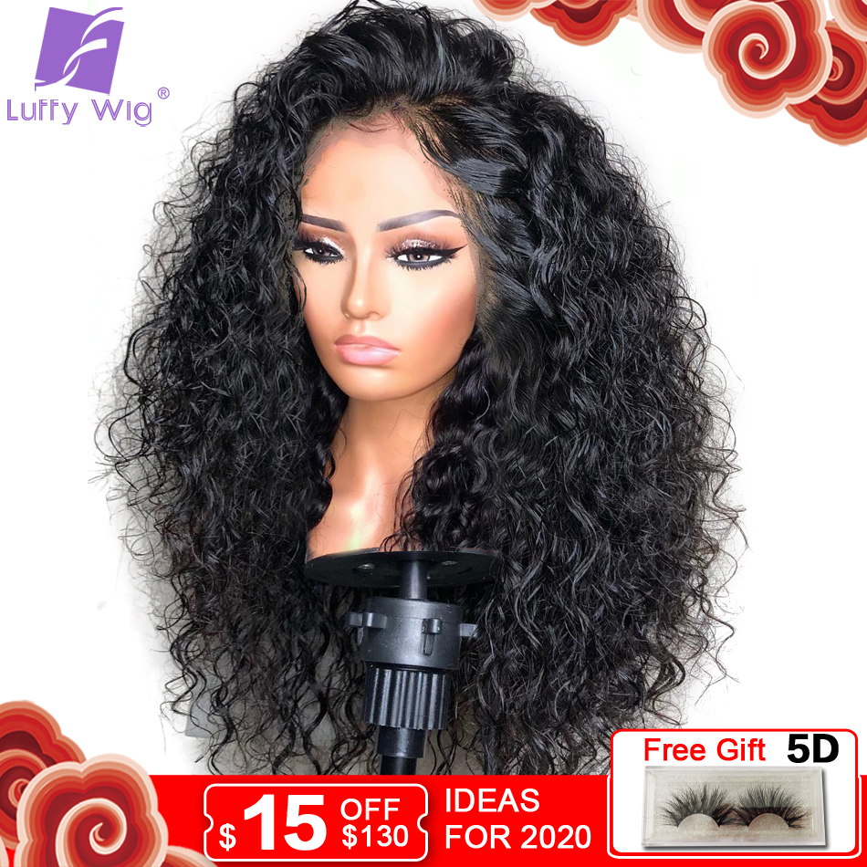13x6 Curly Lace Front Wig 180Density Glueless Deep Part Preplucked Remy Brazilian Human Hair Wigs Bleached Knots For Women LUFFY