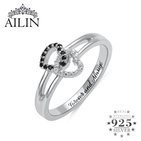 AILIN Women Wedding Rings 925 Silver Rings Double Hearts Stone Custom Engraving Personalised Jewelry Engagement Ring Jewelry