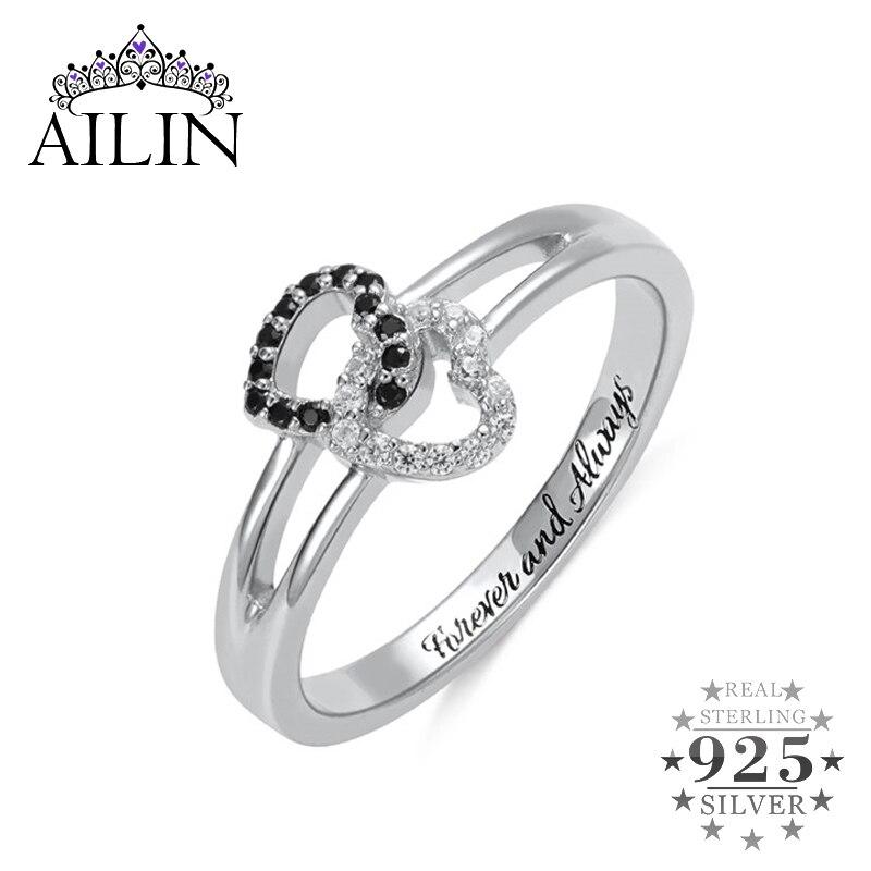 AILIN femmes anneaux de mariage 925 argent anneaux Double coeurs pierre gravure personnalisée bijoux personnalisés bague de fiançailles bijoux